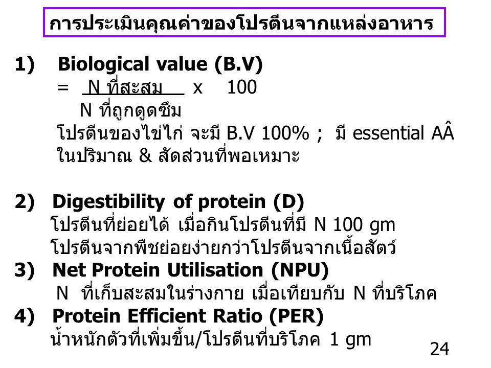 ผลกระทบจากการบริโภคโปรตีน ; ภาวะเกิน ผู้ป่วยโรคไต Protein urea urine uric acid (animal protein มี NÂ) Gout ผู้ป่วยโรคตับ Protein NH 3 urea ผู้ป่วยโรค