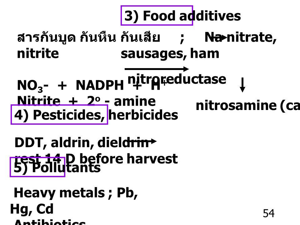 53 2) Contaminants from microorganism Mycotoxin ; Aflatoxin ; Aspergillus spp. พบในถั่วลิสง, พริก, หอม, กระเทียม เป็น carcinogen CA liver อาหารกระป๋อง