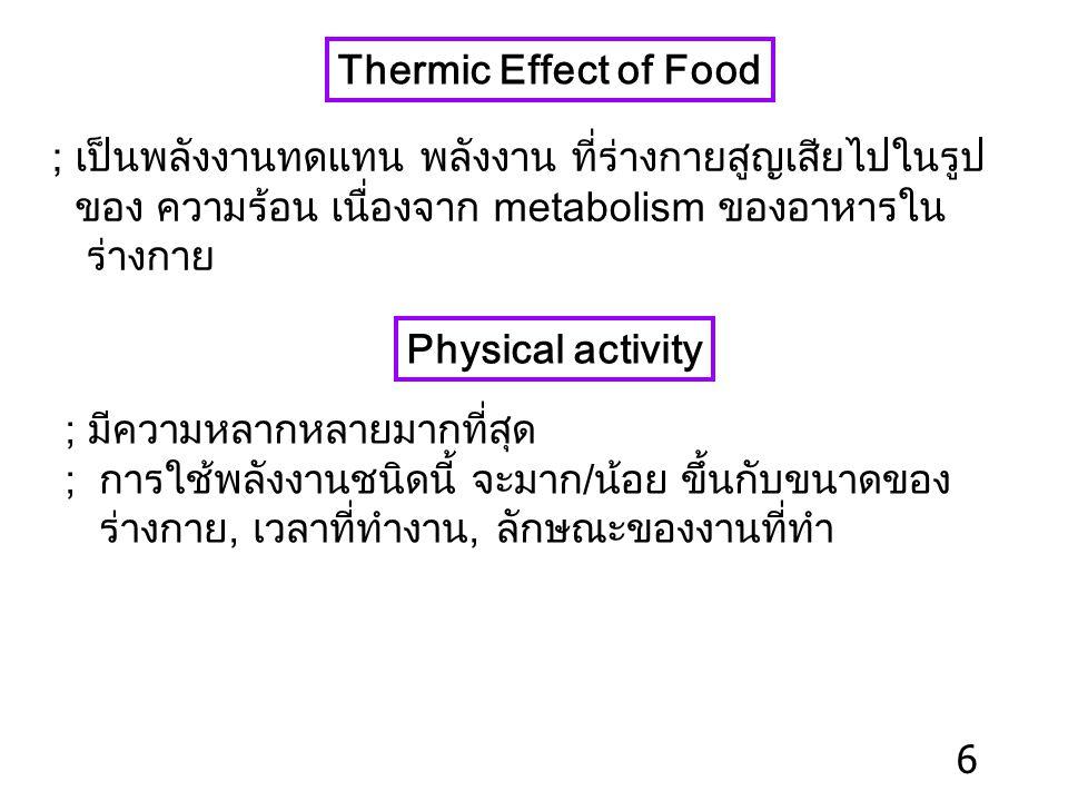 ปัจจัยที่มีผลต่อค่า BMR 1) Body surface area (BSA) ; BSA BMR 2) Sex ; M > F 3) Age ; children > adults > elderly 4) Body temp. ; T. 1 o C BMR 13% 5) N