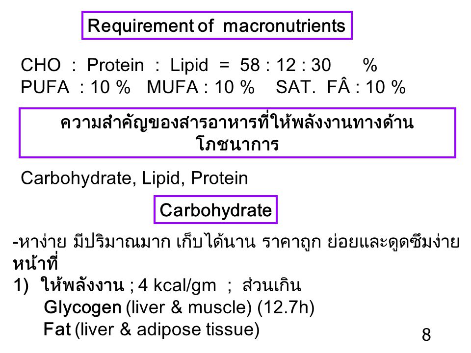 Requirement of macronutrients CHO : Protein : Lipid = 58 : 12 : 30 % PUFA : 10 % MUFA : 10 % SAT.