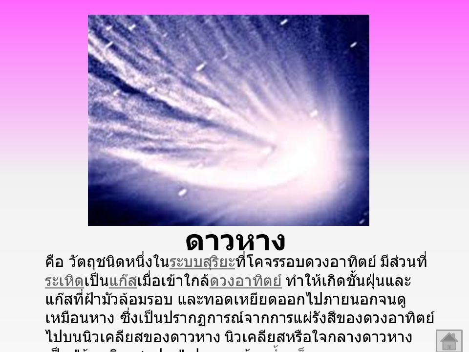 ดาวหาง คือ วัตถุชนิดหนึ่งในระบบสุริยะที่โคจรรอบดวงอาทิตย์ มีส่วนที่ ระเหิดเป็นแก๊สเมื่อเข้าใกล้ดวงอาทิตย์ ทำให้เกิดชั้นฝุ่นและ แก๊สที่ฝ้ามัวล้อมรอบ และทอดเหยียดออกไปภายนอกจนดู เหมือนหาง ซึ่งเป็นปรากฏการณ์จากการแผ่รังสีของดวงอาทิตย์ ไปบนนิวเคลียสของดาวหาง นิวเคลียสหรือใจกลางดาวหาง เป็น ก้อนหิมะสกปรก ประกอบด้วยน้ำแข็ง คาร์บอนไดออกไซด์ มีเทน แอมโมเนีย และมีฝุ่นกับหินแข็ง ปะปนอยู่ด้วยกัน มีขนาดเส้นผ่านศูนย์กลางตั้งแต่ไม่กี่กิโลเมตร ไปจนถึงหลายสิบกิโลเมตรระบบสุริยะ ระเหิดแก๊สดวงอาทิตย์น้ำแข็ง คาร์บอนไดออกไซด์ มีเทน แอมโมเนียกิโลเมตร