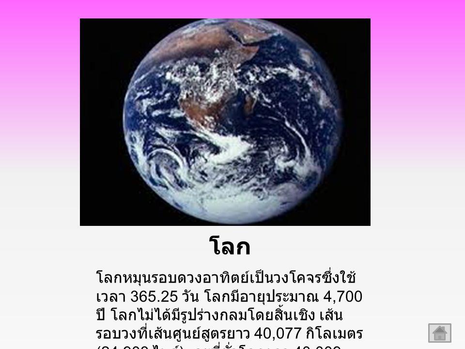 โลก โลกหมุนรอบดวงอาทิตย์เป็นวงโคจรซึ่งใช้ เวลา 365.25 วัน โลกมีอายุประมาณ 4,700 ปี โลกไม่ได้มีรูปร่างกลมโดยสิ้นเชิง เส้น รอบวงที่เส้นศูนย์สูตรยาว 40,077 กิโลเมตร (24,903 ไมล์ ) และที่ขั่วโลกยาว 40,009 กิโลเมตร (24,861 ไมล์ )