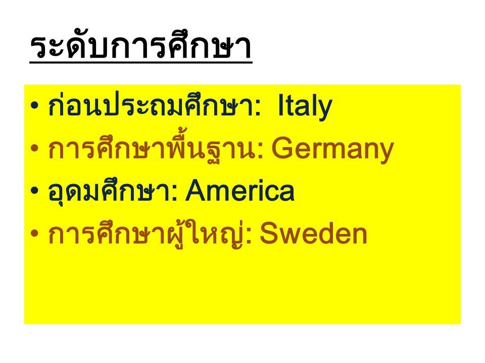 ระดับการศึกษา ก่อนประถมศึกษา: Italy การศึกษาพื้นฐาน: Germany อุดมศึกษา: America การศึกษาผู้ใหญ่: Sweden