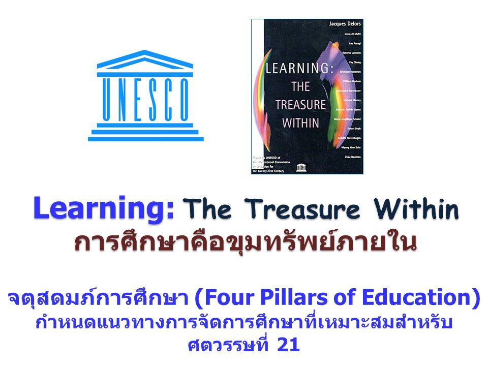 Learning: The Treasure Within การศึกษาคือขุมทรัพย์ภายใน จตุสดมภ์การศึกษา (Four Pillars of Education) กำหนดแนวทางการจัดการศึกษาที่เหมาะสมสำหรับ ศตวรรษท