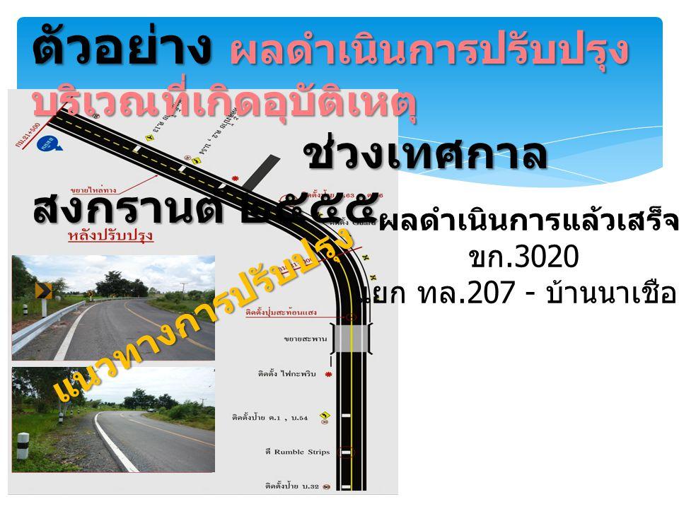 ตัวอย่าง ผลดำเนินการปรับปรุง บริเวณที่เกิดอุบัติเหตุ ช่วงเทศกาล สงกรานต์ ๒๕๕๕ ผลดำเนินการแล้วเสร็จ ขก.3020 แยก ทล.207 - บ้านนาเชือก แนวทางการปรับปรุง