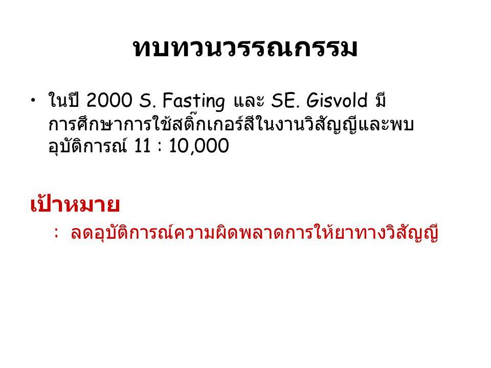 ทบทวนวรรณกรรม ในปี 2000 S.Fasting และ SE.