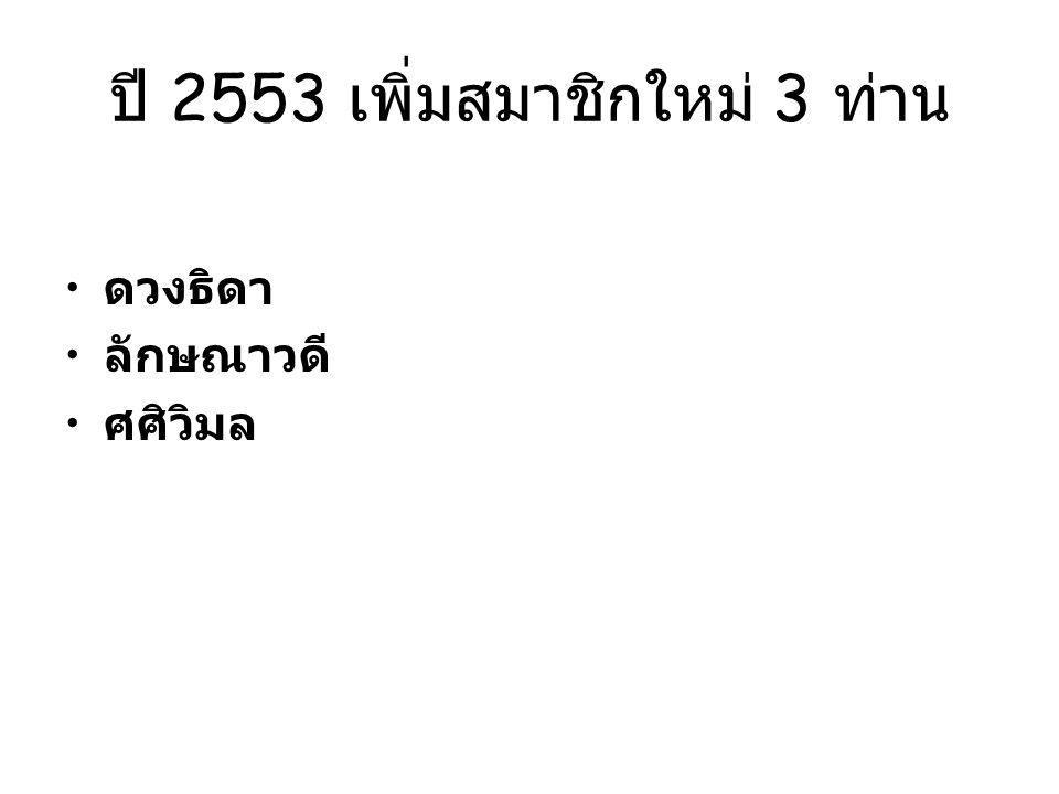 ปี 2553 เพิ่มสมาชิกใหม่ 3 ท่าน ดวงธิดา ลักษณาวดี ศศิวิมล