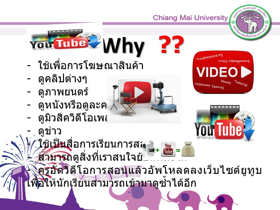 Why ?? - ใช้เพื่อการโฆษณาสินค้า - ดูคลิปต่างๆ - ดูภาพยนตร์ - ดูหนังหรือดูละคร - ดูมิวสิควิดีโอเพลง - ดูข่าว - ใช้เป็นสื่อการเรียนการสอน - สามารถดูสิ่ง