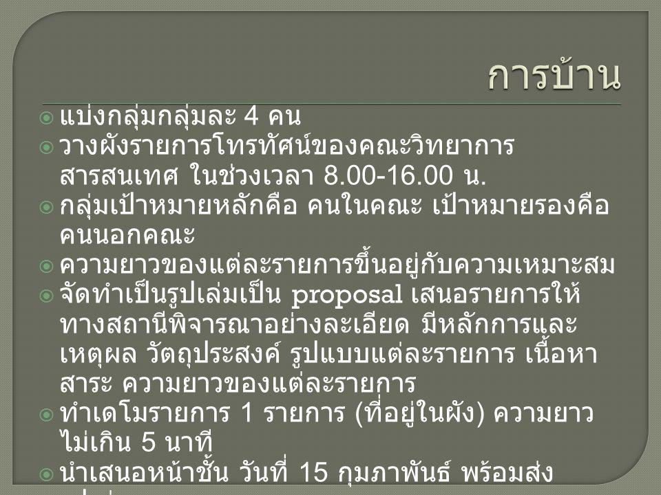  แบ่งกลุ่มกลุ่มละ 4 คน  วางผังรายการโทรทัศน์ของคณะวิทยาการ สารสนเทศ ในช่วงเวลา 8.00-16.00 น.