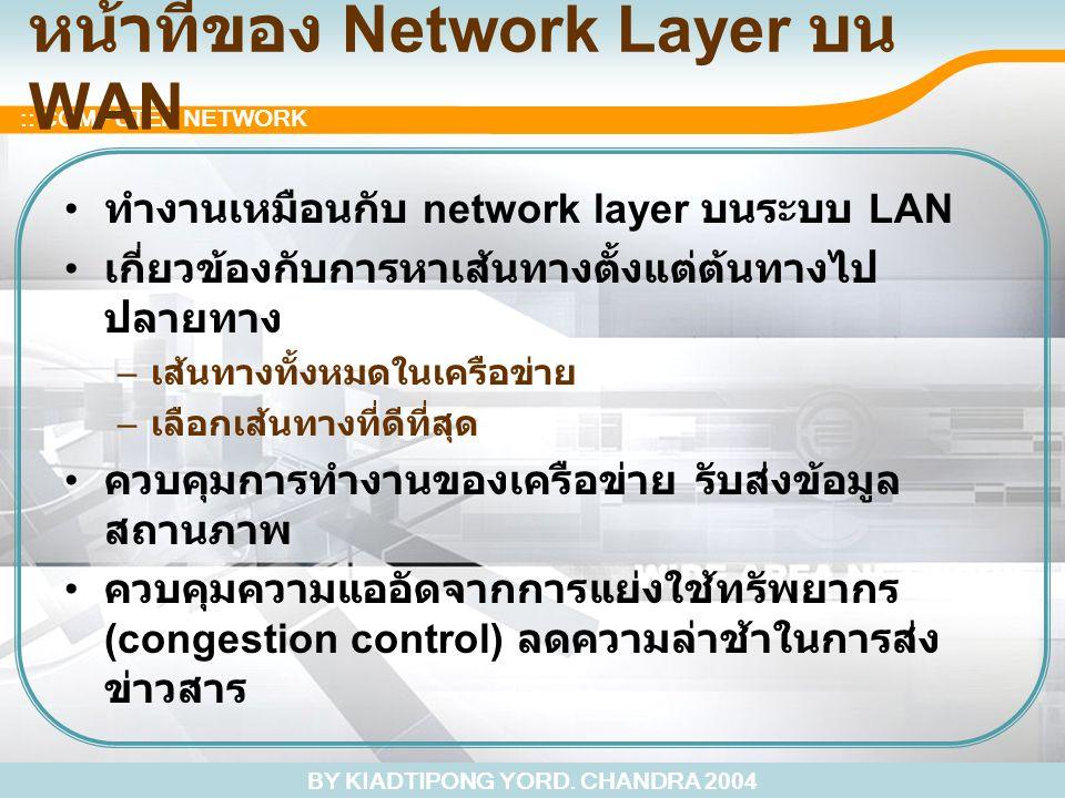 BY KIADTIPONG YORD. CHANDRA 2004 :: COMPUTER NETWORK หน้าที่ของ Network Layer บน WAN ทำงานเหมือนกับ network layer บนระบบ LAN เกี่ยวข้องกับการหาเส้นทาง