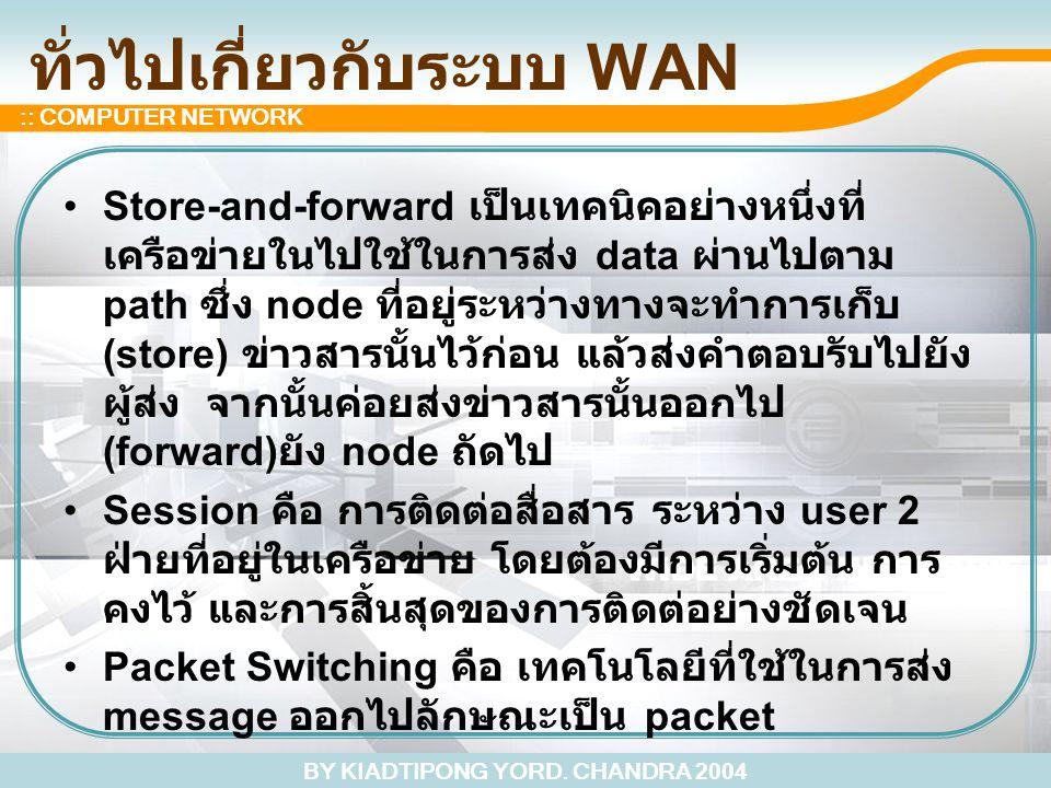 BY KIADTIPONG YORD. CHANDRA 2004 :: COMPUTER NETWORK ทั่วไปเกี่ยวกับระบบ WAN Store-and-forward เป็นเทคนิคอย่างหนึ่งที่ เครือข่ายในไปใช้ในการส่ง data ผ