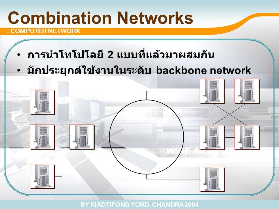 BY KIADTIPONG YORD. CHANDRA 2004 :: COMPUTER NETWORK Combination Networks การนำโทโปโลยี 2 แบบที่แล้วมาผสมกัน มักประยุกต์ใช้งานในระดับ backbone network