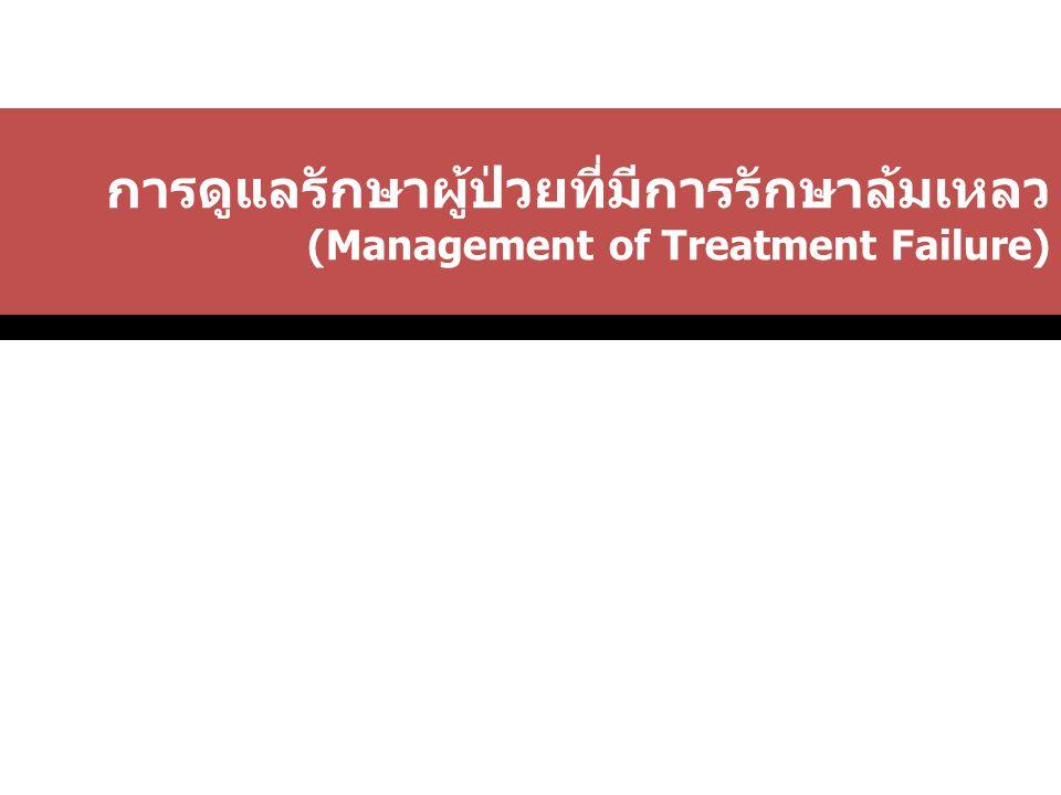 การดูแลรักษาผู้ป่วยที่มีการรักษาล้มเหลว (Management of Treatment Failure)