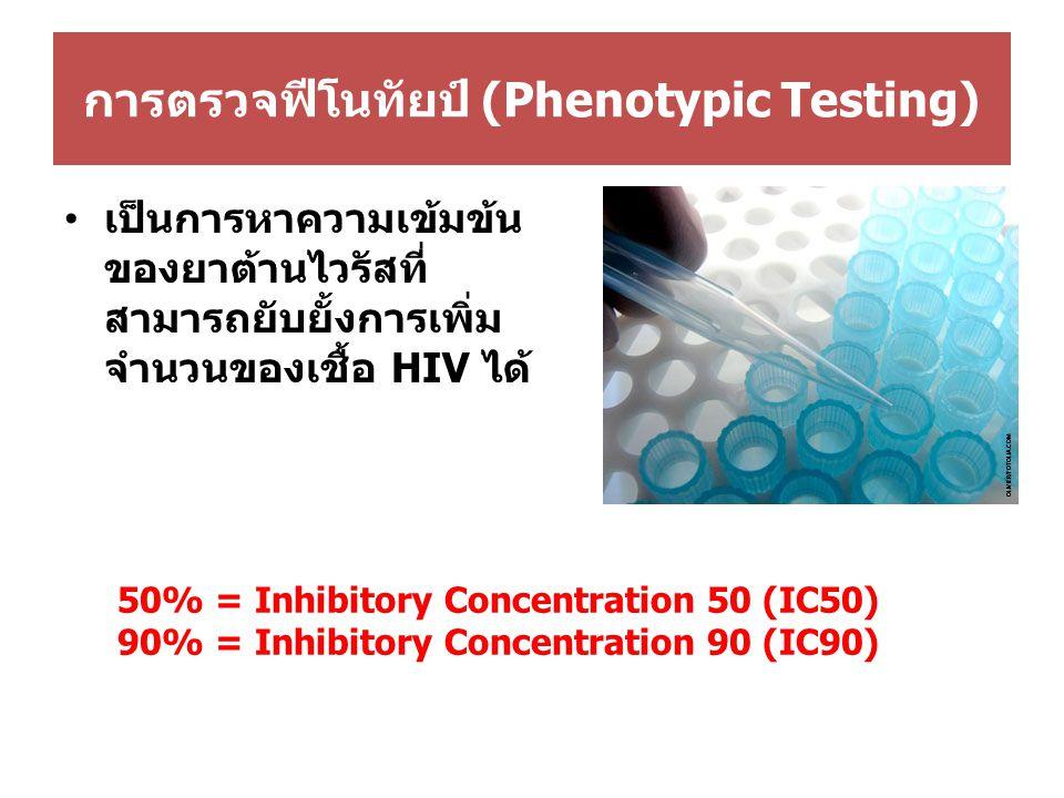 การตรวจฟีโนทัยป์ (Phenotypic Testing) เป็นการหาความเข้มข้น ของยาต้านไวรัสที่ สามารถยับยั้งการเพิ่ม จำนวนของเชื้อ HIV ได้ 50% = Inhibitory Concentration 50 (IC50) 90% = Inhibitory Concentration 90 (IC90)