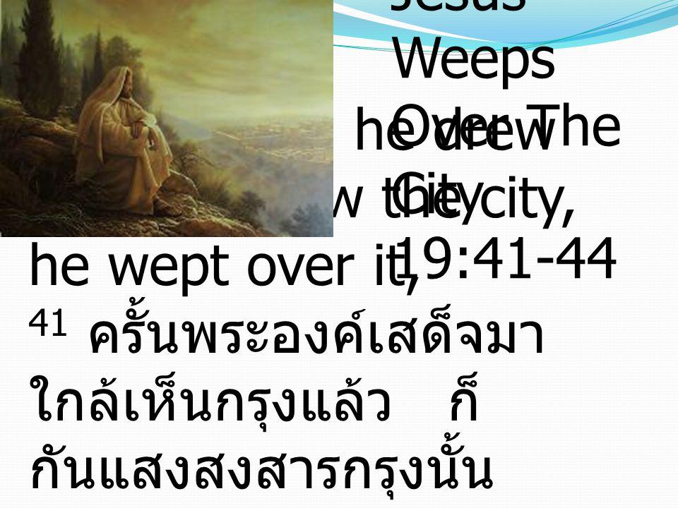 41 And when he drew near and saw the city, he wept over it, 41 ครั้นพระองค์เสด็จมา ใกล้เห็นกรุงแล้ว ก็ กันแสงสงสารกรุงนั้น Jesus Weeps Over The City 19:41-44
