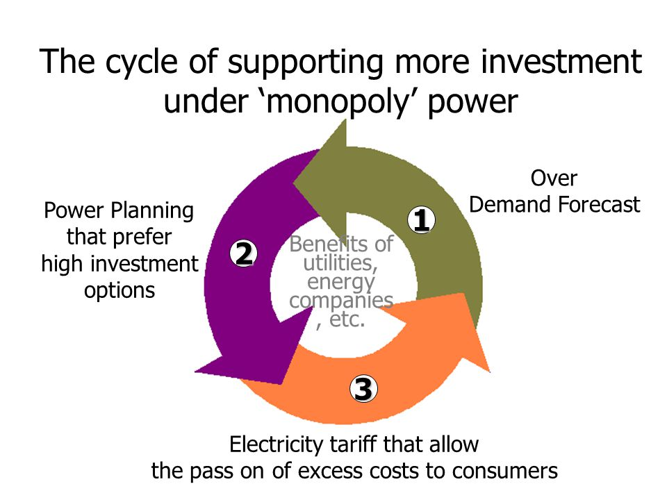 The cycle of supporting more investment under 'monopoly' power Over Demand Forecast Power Planning that prefer high investment options Electricity tariff that allow the pass on of excess costs to consumers Benefits of utilities, energy companies, etc.