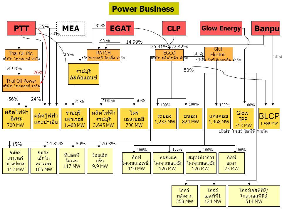 PTT MEA EGAT Banpu RATCH บริษัท ราชบุรี โฮลดิ้ง จำกัด Thai Oil Plc. บริษัท ไทยออยล์ จำกัด Thai Oil Power บริษัท ไทยออยล์ จำกัด ผลิตไฟฟ้า อิสระ 700 MW