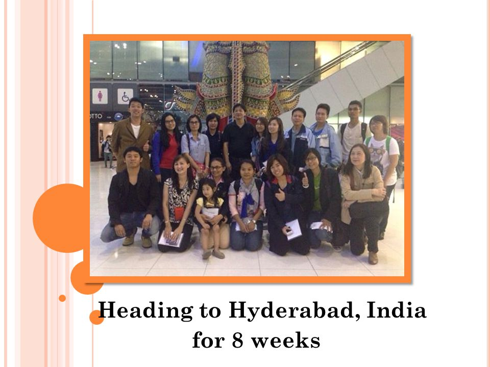 Heading to Hyderabad, India for 8 weeks