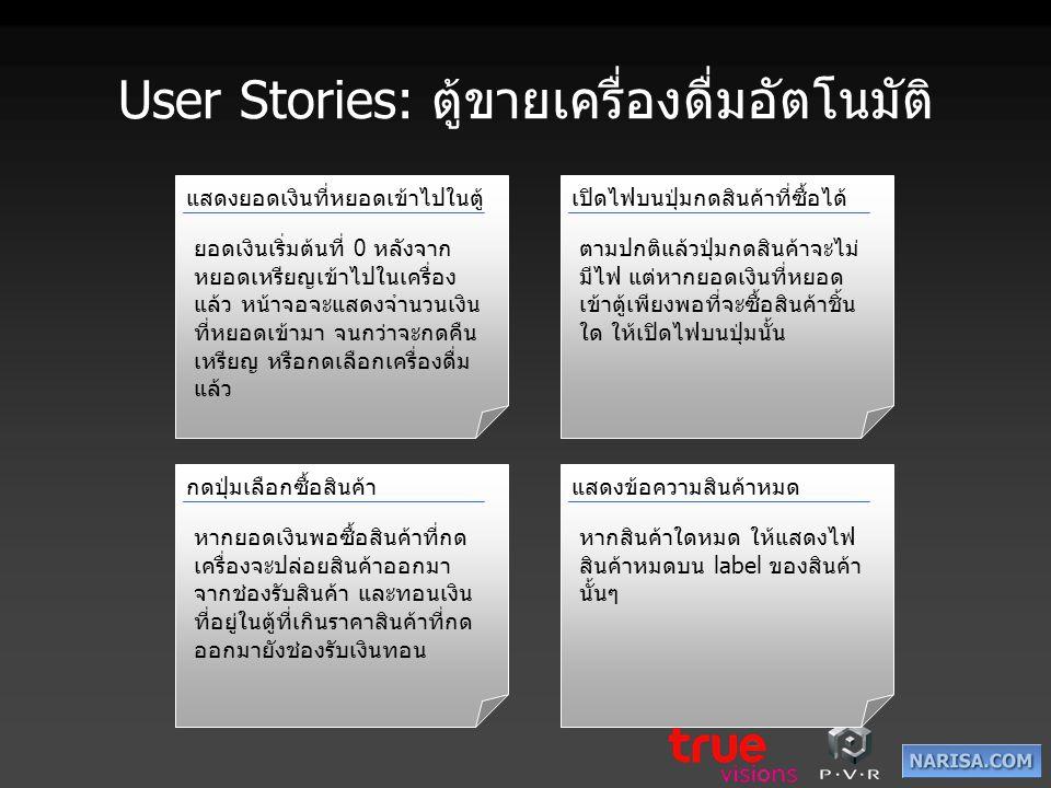 User Stories: ตู้ขายเครื่องดื่มอัตโนมัติ แสดงยอดเงินที่หยอดเข้าไปในตู้ ยอดเงินเริ่มต้นที่ 0 หลังจาก หยอดเหรียญเข้าไปในเครื่อง แล้ว หน้าจอจะแสดงจำนวนเง