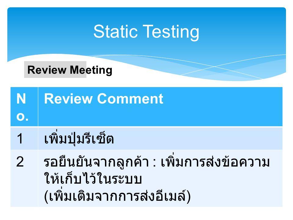 Static Testing ตัวอย่างระบบบริหารจัดการการลาคณะ เภสัช ม. พะเยา ส่วนการส่งข้อความไปยังผู้ดูแลระบบผ่าน อีเมล์  ฟิลด์  email ผู้ติดต่อ  ชื่อผู้ติดต่อ