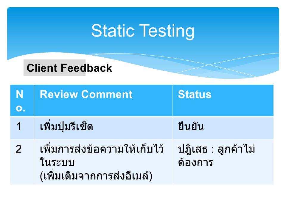 Static Testing N o. Review Comment 1 เพิ่มปุ่มรีเซ็ต 2 รอยืนยันจากลูกค้า : เพิ่มการส่งข้อความ ให้เก็บไว้ในระบบ ( เพิ่มเติมจากการส่งอีเมล์ ) Review Mee
