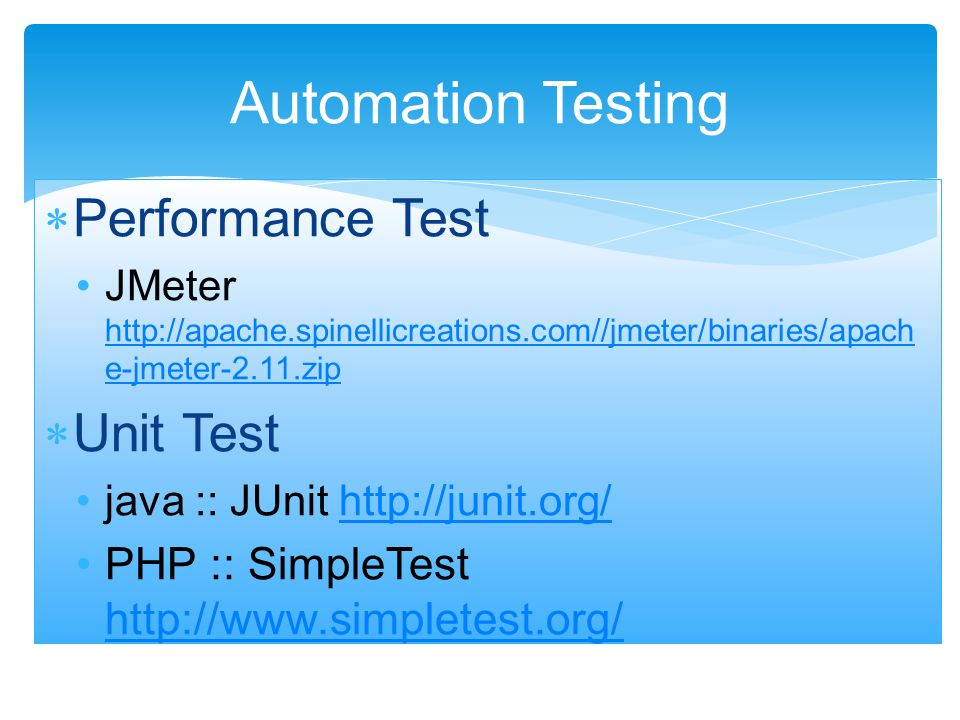 ใช้ทดสอบ functional requirement  fact : software testing ใช้ได้ทั้ง Manual และ Automation Manual Testing MythFact Anyone can do manual testingTesting requires many skill sets Testing ensures 100% defect free product Testing attempts to find as many defects as possible.