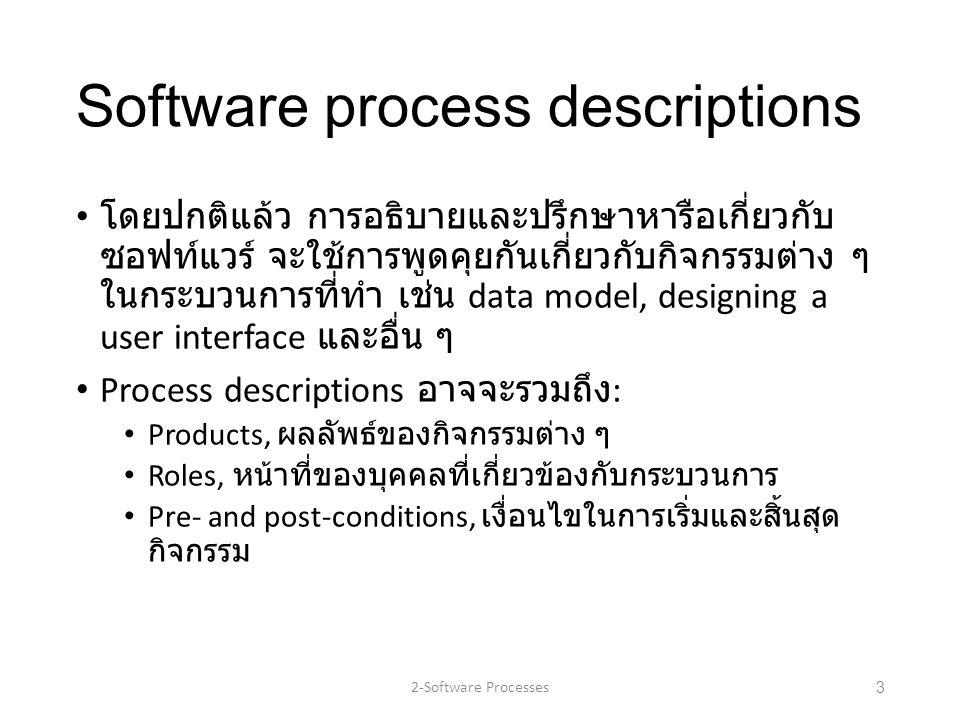 Software process descriptions โดยปกติแล้ว การอธิบายและปรึกษาหารือเกี่ยวกับ ซอฟท์แวร์ จะใช้การพูดคุยกันเกี่ยวกับกิจกรรมต่าง ๆ ในกระบวนการที่ทำ เช่น dat