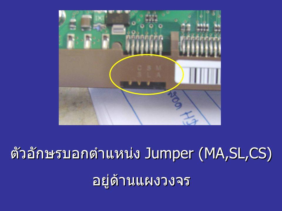 ตัวอักษรบอกตำแหน่ง Jumper (MA,SL,CS) อยู่ด้านแผงวงจร ตัวอักษรบอกตำแหน่ง Jumper (MA,SL,CS) อยู่ด้านแผงวงจร