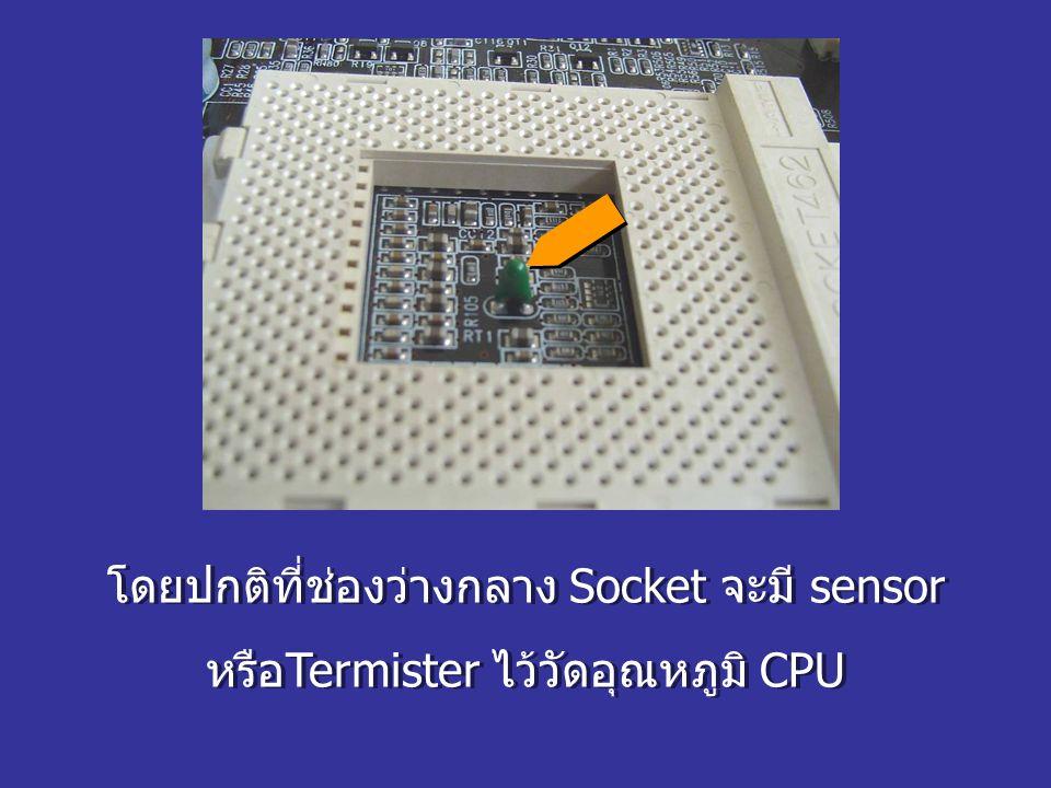 โดยปกติที่ช่องว่างกลาง Socket จะมี sensor หรือTermister ไว้วัดอุณหภูมิ CPU โดยปกติที่ช่องว่างกลาง Socket จะมี sensor หรือTermister ไว้วัดอุณหภูมิ CPU