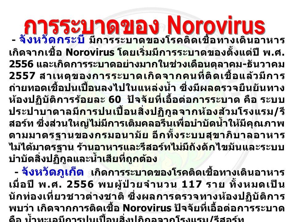 - จังหวัดกระบี่ มีการระบาดของโรคติดเชื้อทางเดินอาหาร เกิดจากเชื้อ Norovirus โดยเริ่มมีการระบาดของตั้งแต่ปี พ. ศ. 2556 และเกิดการระบาดอย่างมากในช่วงเดื