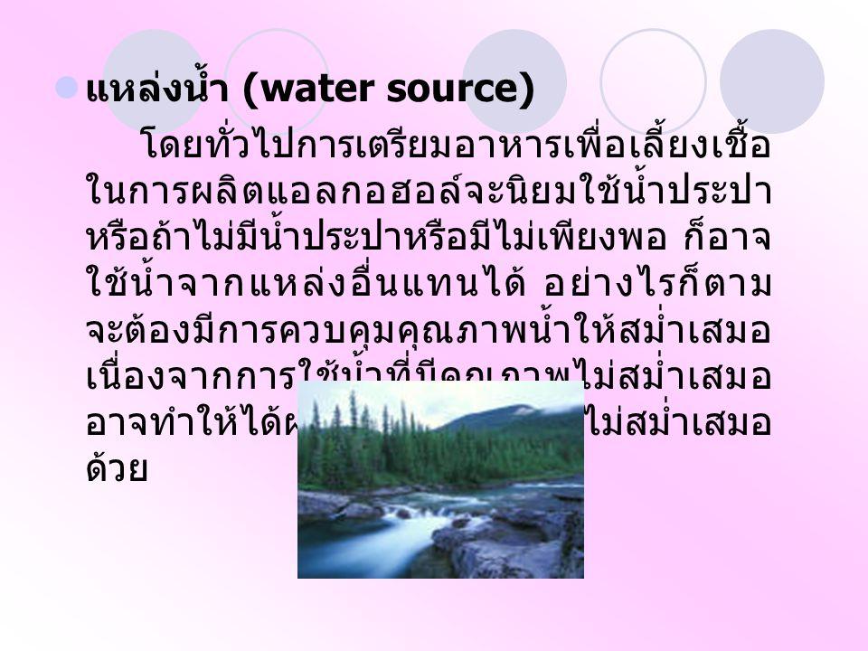 แหล่งน้ำ (water source) โดยทั่วไปการเตรียมอาหารเพื่อเลี้ยงเชื้อ ในการผลิตแอลกอฮอล์จะนิยมใช้น้ำประปา หรือถ้าไม่มีน้ำประปาหรือมีไม่เพียงพอ ก็อาจ ใช้น้ำจากแหล่งอื่นแทนได้ อย่างไรก็ตาม จะต้องมีการควบคุมคุณภาพน้ำให้สม่ำเสมอ เนื่องจากการใช้น้ำที่มีคุณภาพไม่สม่ำเสมอ อาจทำให้ได้ผลผลิตที่มีคุณภาพไม่สม่ำเสมอ ด้วย