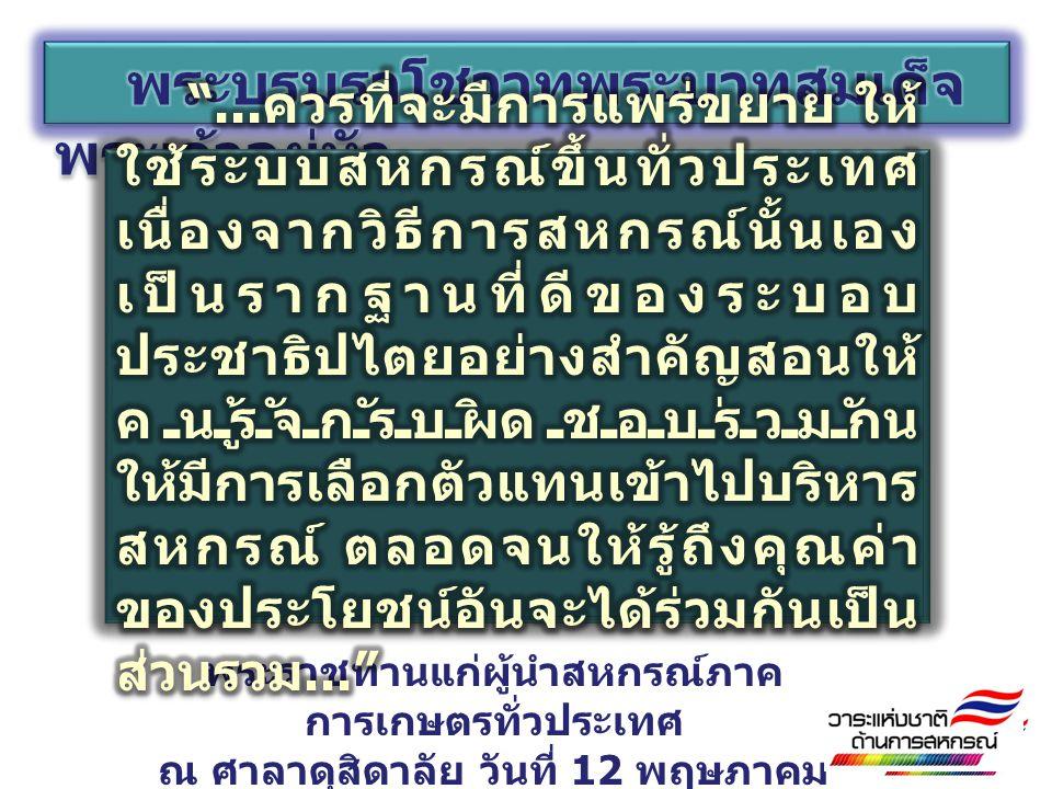 พระราชทานแก่ผู้นำสหกรณ์ภาค การเกษตรทั่วประเทศ ณ ศาลาดุสิดาลัย วันที่ 12 พฤษภาคม 2520