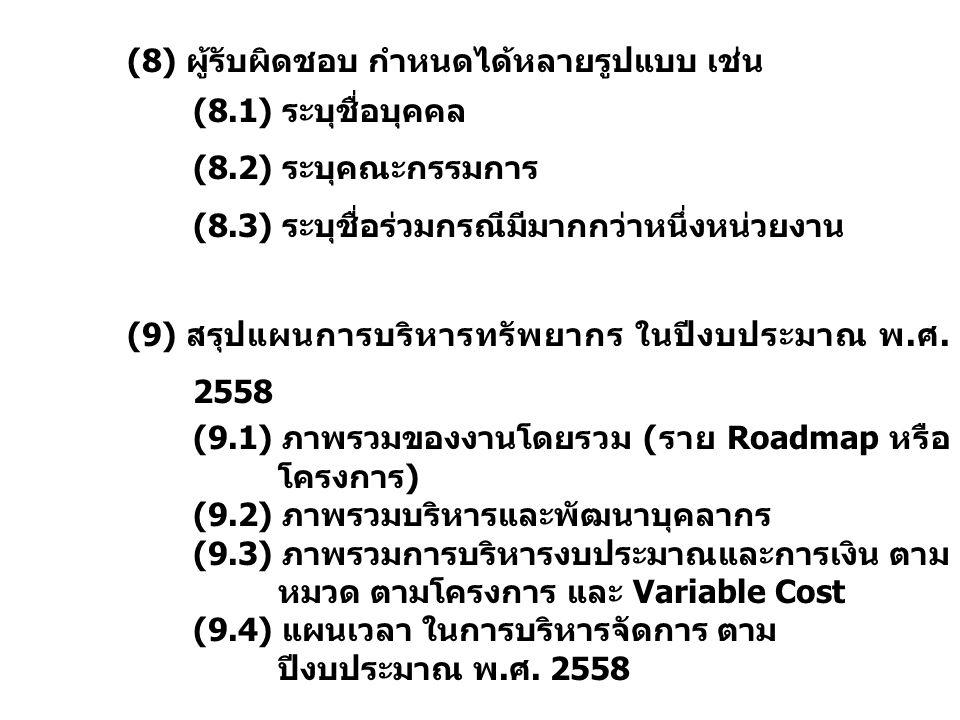(8) ผู้รับผิดชอบ กำหนดได้หลายรูปแบบ เช่น (8.1) ระบุชื่อบุคคล (8.2) ระบุคณะกรรมการ (8.3) ระบุชื่อร่วมกรณีมีมากกว่าหนึ่งหน่วยงาน (9) สรุปแผนการบริหารทรั