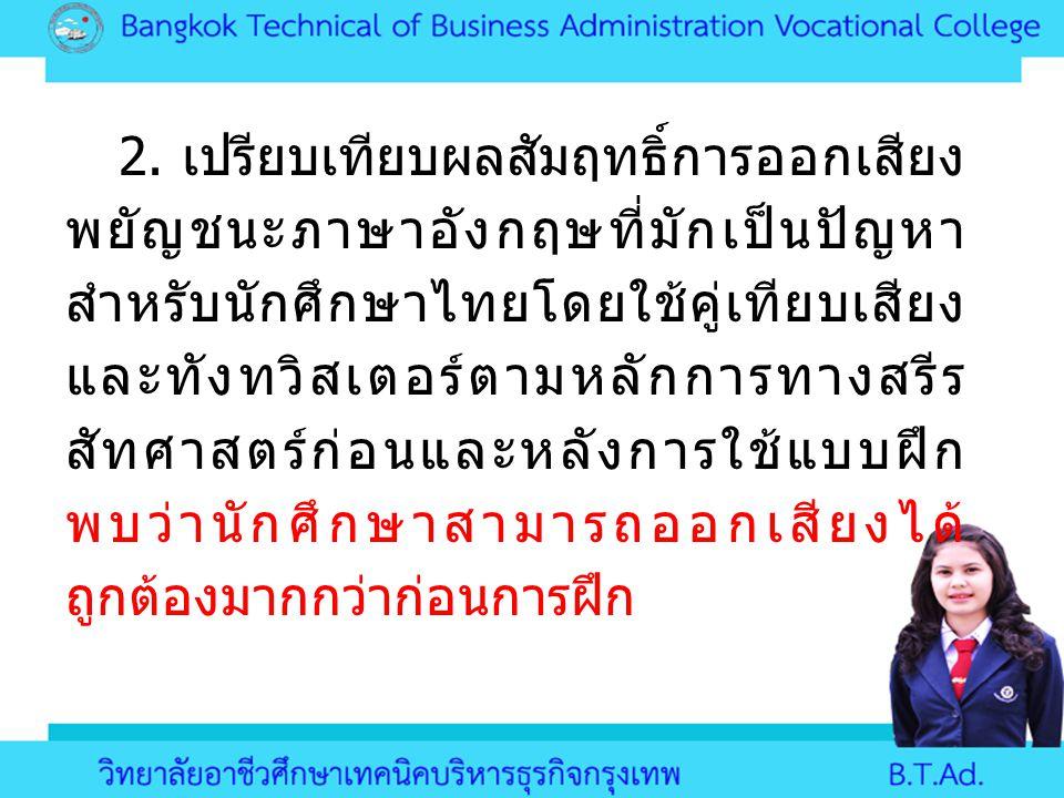 2. เปรียบเทียบผลสัมฤทธิ์การออกเสียง พยัญชนะภาษาอังกฤษที่มักเป็นปัญหา สำหรับนักศึกษาไทยโดยใช้คู่เทียบเสียง และทังทวิสเตอร์ตามหลักการทางสรีร สัทศาสตร์ก่