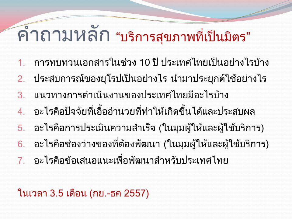 """คำถามหลัก """"บริการสุขภาพที่เป็นมิตร"""" 1. การทบทวนเอกสารในช่วง 10 ปี ประเทศไทยเป็นอย่างไรบ้าง 2. ประสบการณ์ของยุโรปเป็นอย่างไร นำมาประยุกต์ใช้อย่างไร 3."""