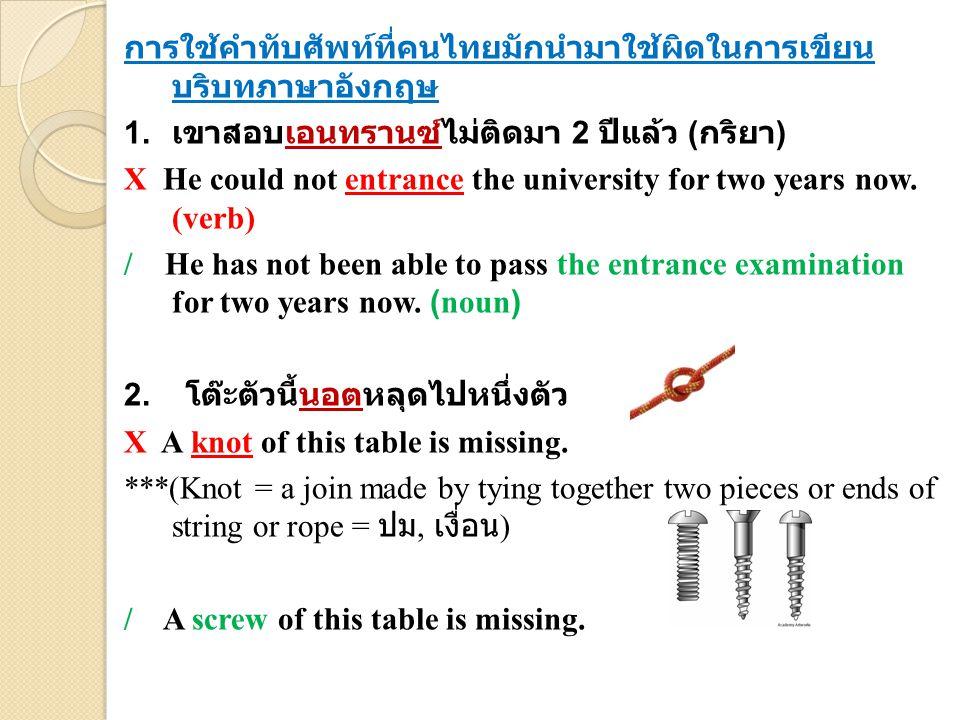 การใช้คำทับศัพท์ที่คนไทยมักนำมาใช้ผิดในการเขียน บริบทภาษาอังกฤษ 1.