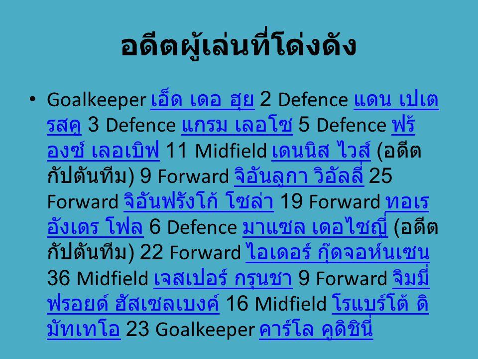 อดีตผู้เล่นที่โด่งดัง Goalkeeper เอ็ด เดอ ฮุย 2 Defence แดน เปเต รสคู 3 Defence แกรม เลอโซ 5 Defence ฟร้ องซ์ เลอเบิฟ 11 Midfield เดนนิส ไวส์ ( อดีต ก