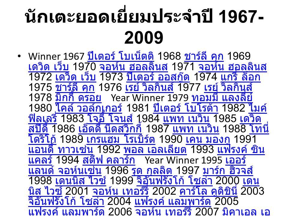 นักเตะยอดเยี่ยมประจำปี 1967- 2009 Winner 1967 ปีเตอร์ โบเน็ตติ 1968 ชาร์ลี คุก 1969 เดวิด เว็บ 1970 จอห์น ฮอลลินส 1971 จอห์น ฮอลลินส 1972 เดวิด เว็บ 1