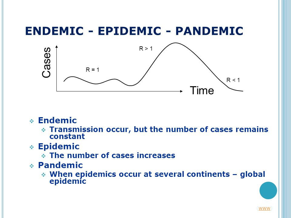 ENDEMIC - EPIDEMIC - PANDEMIC  Endemic  Transmission occur, but the number of cases remains constant  Epidemic  The number of cases increases  Pandemic  When epidemics occur at several continents – global epidemic Time Cases R = 1 R > 1 R < 1 (www)www