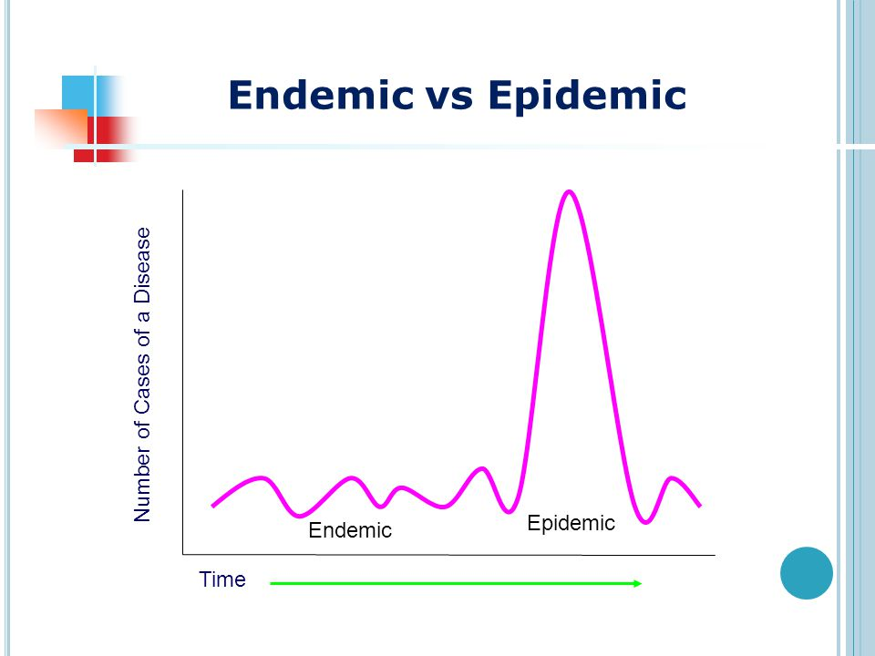 Endemic Epidemic Number of Cases of a Disease Time Endemic vs Epidemic