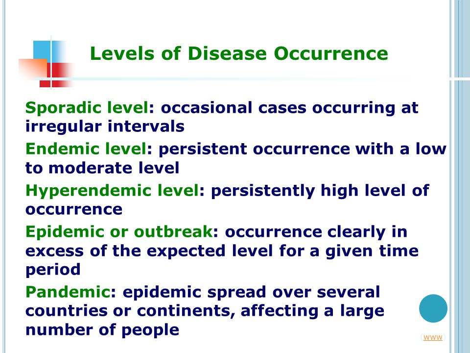 Levels of Disease Occurrence Sporadic level: occasional cases occurring at irregular intervals Endemic level: persistent occurrence with a low to moderate level Hyperendemic level: persistently high level of occurrence Epidemic or outbreak: occurrence clearly in excess of the expected level for a given time period Pandemic: epidemic spread over several countries or continents, affecting a large number of people (www)www