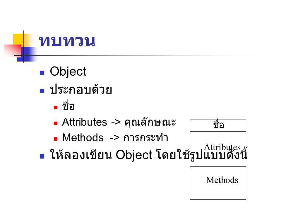 ทบทวน Object ประกอบด้วย ชื่อ Attributes -> คุณลักษณะ Methods -> การกระทำ ให้ลองเขียน Object โดยใช้รูปแบบดังนี้ ชื่อ Attributes Methods