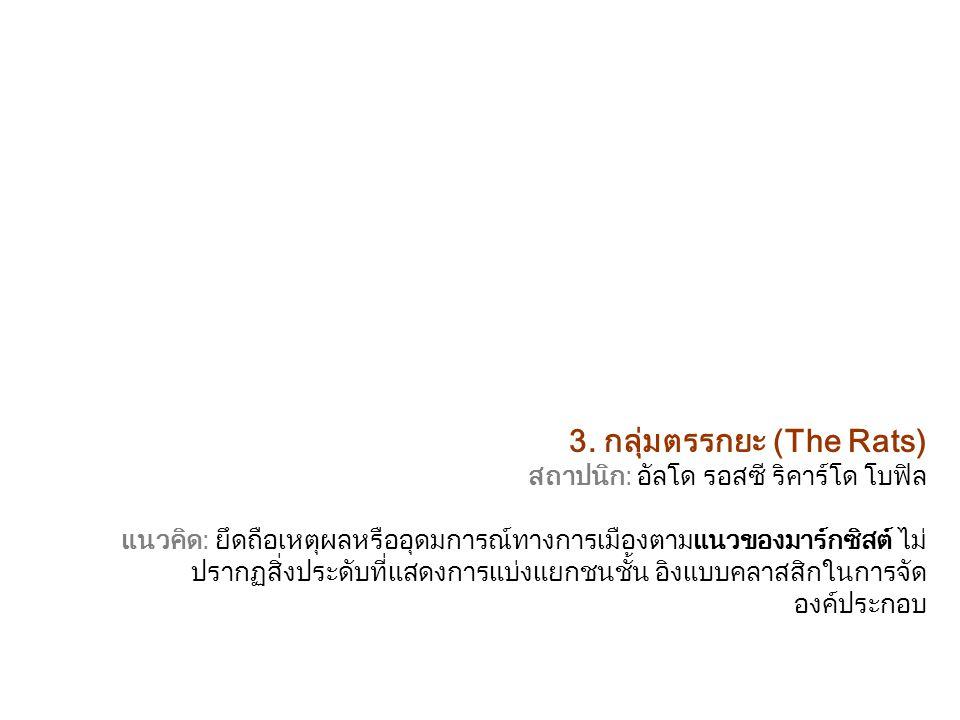 3. กลุ่มตรรกยะ (The Rats) สถาปนิก: อัลโด รอสซี ริคาร์โด โบฟิล แนวคิด: ยึดถือเหตุผลหรืออุดมการณ์ทางการเมืองตามแนวของมาร์กซิสต์ ไม่ ปรากฏสิ่งประดับที่แส