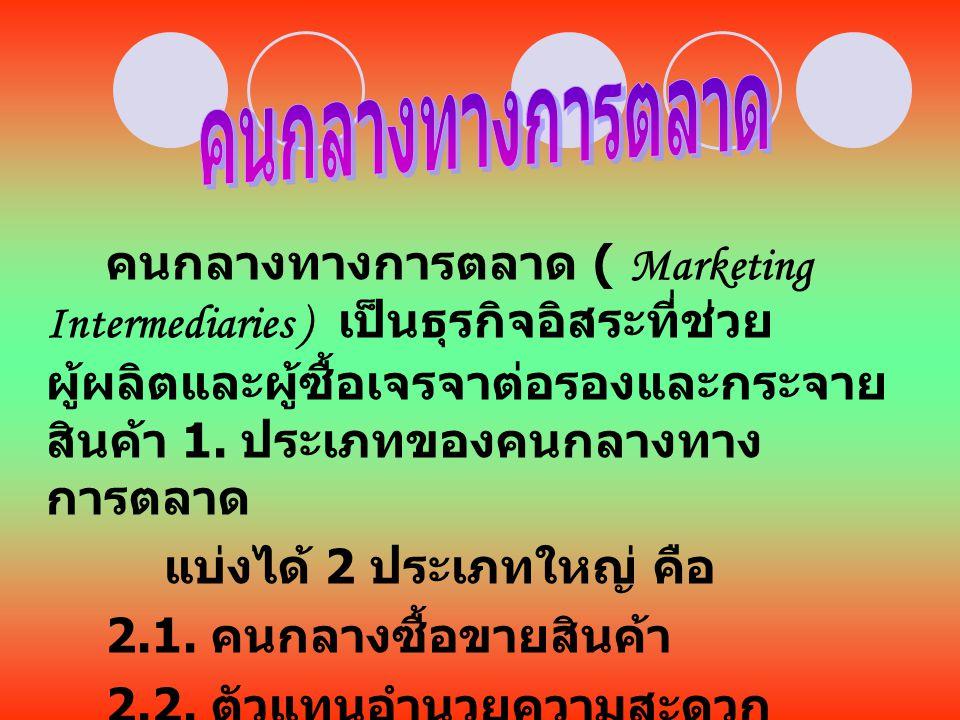 คนกลางทางการตลาด ( Marketing Intermediaries ) เป็นธุรกิจอิสระที่ช่วย ผู้ผลิตและผู้ซื้อเจรจาต่อรองและกระจาย สินค้า 1. ประเภทของคนกลางทาง การตลาด แบ่งได