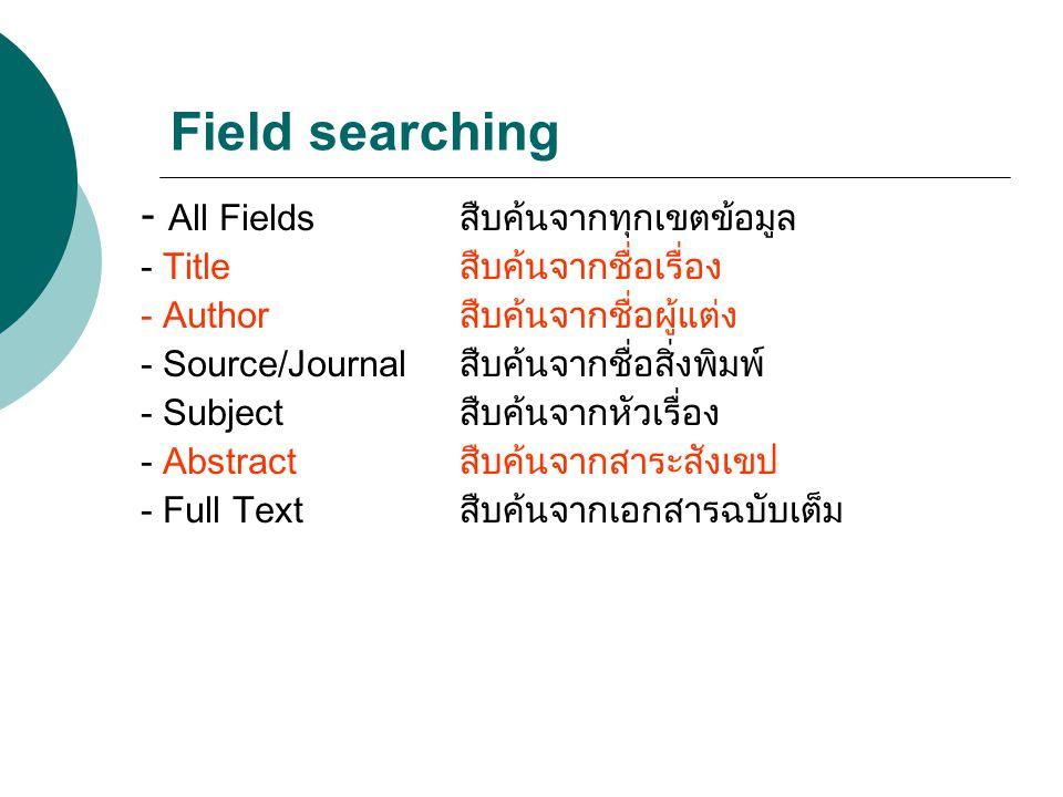 Field searching - All Fieldsสืบค้นจากทุกเขตข้อมูล - Titleสืบค้นจากชื่อเรื่อง - Author สืบค้นจากชื่อผู้แต่ง - Source/Journalสืบค้นจากชื่อสิ่งพิมพ์ - Su