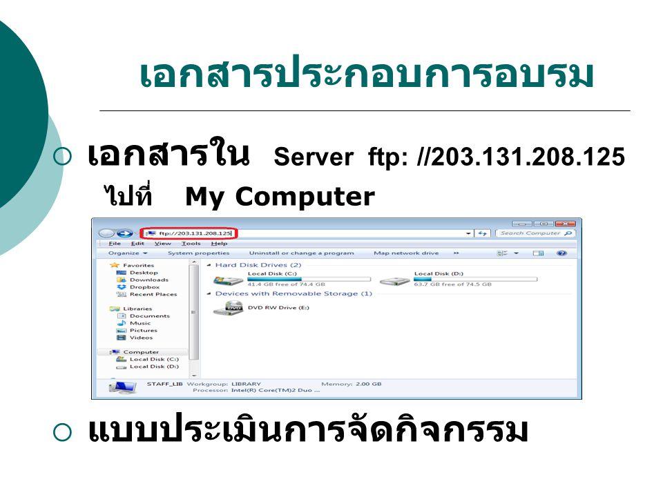 เอกสารประกอบการอบรม  เอกสารใน Server ftp: //203.131.208.125 ไปที่ My Computer  แบบประเมินการจัดกิจกรรม
