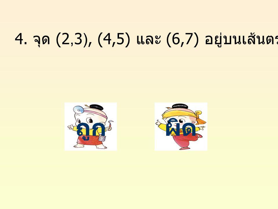 ถูกผิด 4. จุด (2,3), (4,5) และ (6,7) อยู่บนเส้นตรงเดียวกัน