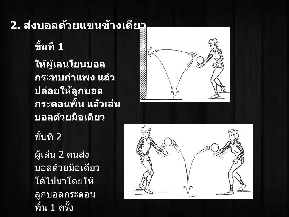 2. ส่งบอลด้วยแขนข้างเดียว ขั้นที่ 1 ให้ผู้เล่นโยนบอล กระทบกำแพง แล้ว ปล่อยให้ลูกบอล กระดอนพื้น แล้วเล่น บอลด้วยมือเดียว ขั้นที่ 2 ผู้เล่น 2 คนส่ง บอลด
