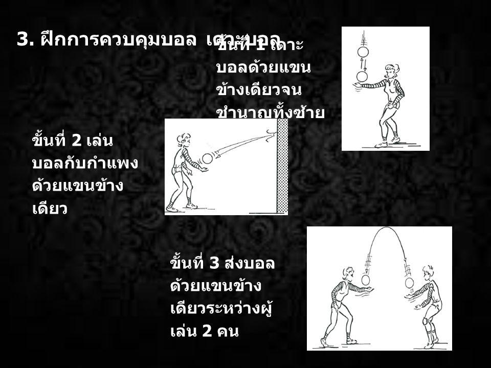 3. ฝึกการควบคุมบอล เดาะบอล ขั้นที่ 1 เดาะ บอลด้วยแขน ข้างเดียวจน ชำนาญทั้งซ้าย และขวา ขั้นที่ 2 เล่น บอลกับกำแพง ด้วยแขนข้าง เดียว ขั้นที่ 3 ส่งบอล ด้