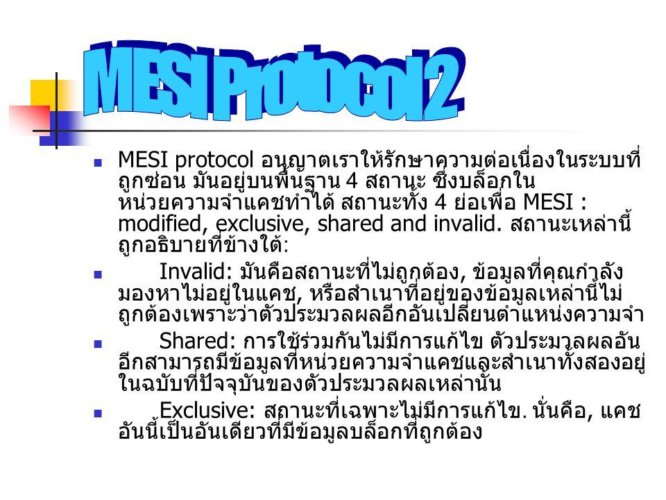 MESI protocol อนุญาตเราให้รักษาความต่อเนื่องในระบบที่ ถูกซ่อน มันอยู่บนพื้นฐาน 4 สถานะ ซึ่งบล็อกใน หน่วยความจำแคชทำได้ สถานะทั้ง 4 ย่อเพื่อ MESI : mod